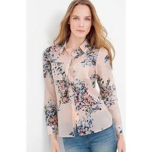 White House Black Market blouse shirt floral silk